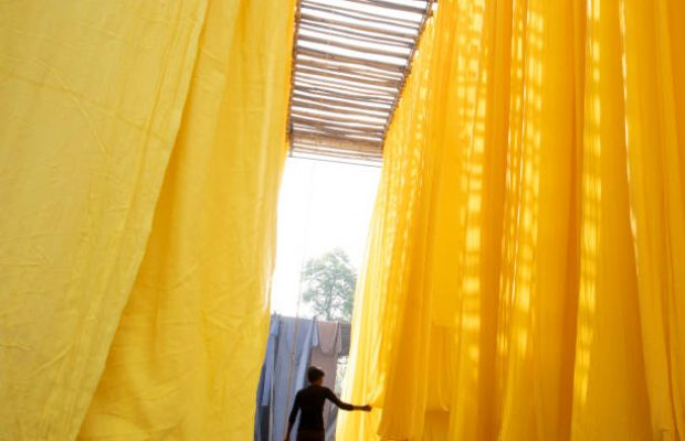 India, Rajasthan, Jaipur 01/04/2020 young textile worker, male working amongst yellow lengths of drying cloth. outside city of Jaipur